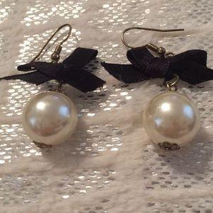 Betsey Johnson Pearl Bow Earrings
